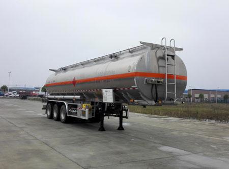 3轴双胎直罐46方乙醇铝合金易燃液体罐式运输半挂车